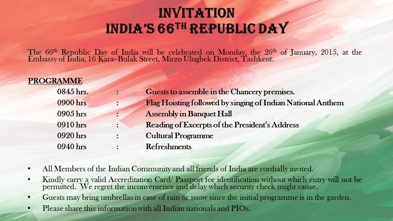 Sitemap Invitation To Attend 66th Republic Day Of India
