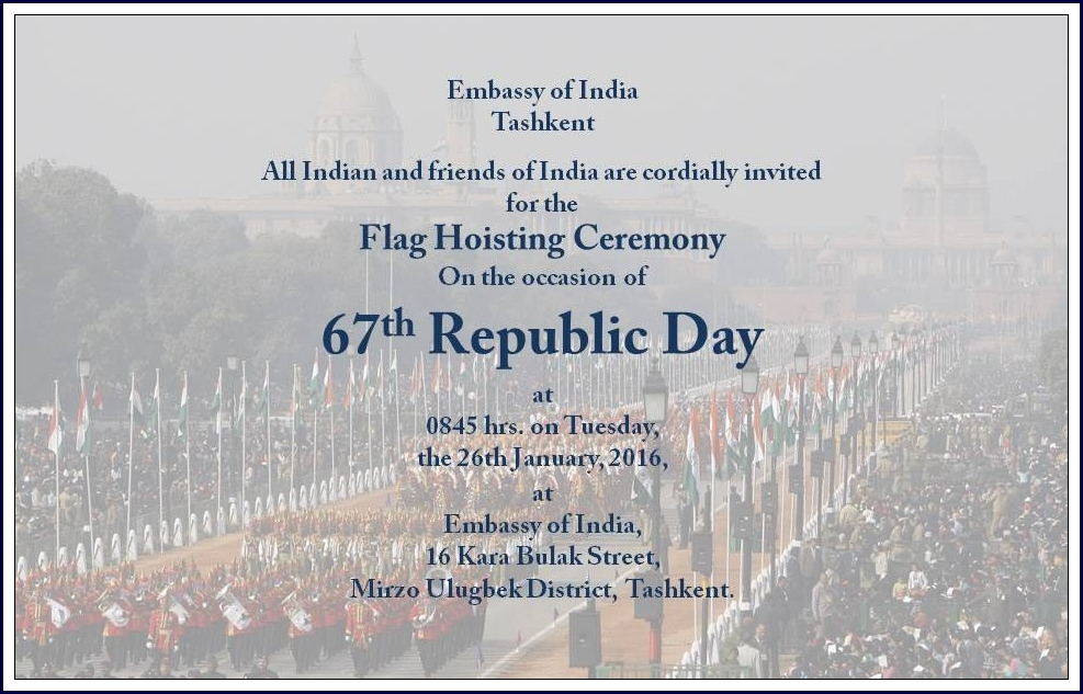 Latest News Events Invitation For The 67th Republic Day Of India